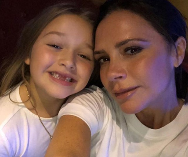It must be a generational thing - Victoria and daughter Harper also look picture perfect in matching white tees! *(Image: Instagram / @victoriabeckham)*