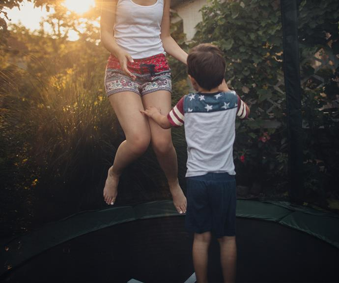 Probably best to stay away from trampolining if your pelvic floor is weak. *(Image: Getty Images)*