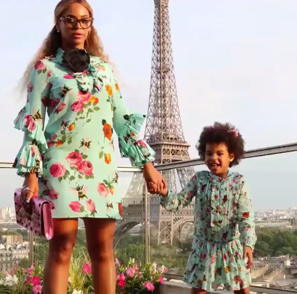 They're the epitome of cool - Beyonce and daughter Blue Ivy are not only chic in their matching floral get-ups, but they've worn them in front of one of the best views in the world! *(Image: Instagram / @beyonce)*