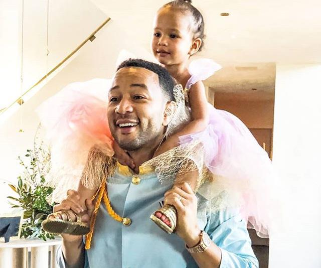 A view from the top! John Legend and his daughter Luna look straight out of a fairy tale. *(Image: Instagram / @johnlegend)*
