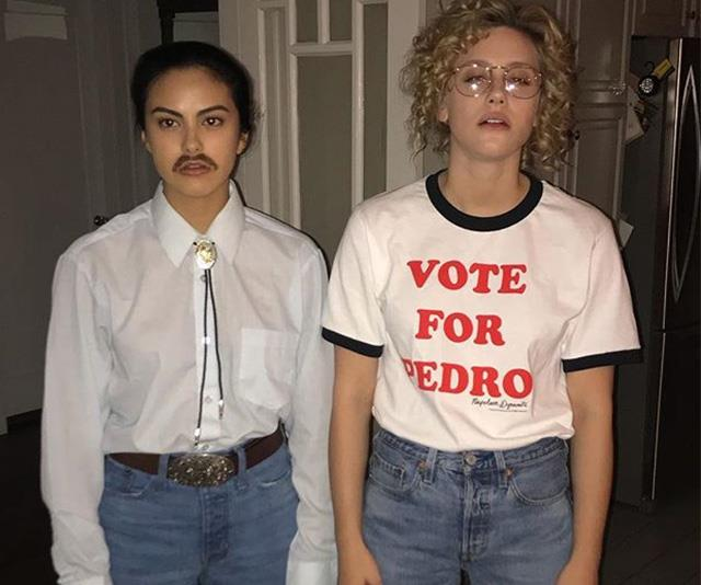 Riverdale stars Camila Mendes and Lili Reinhart have nailed Napolean Dynamite style (and poses!) *(Image: Instagram / @camimendes)*