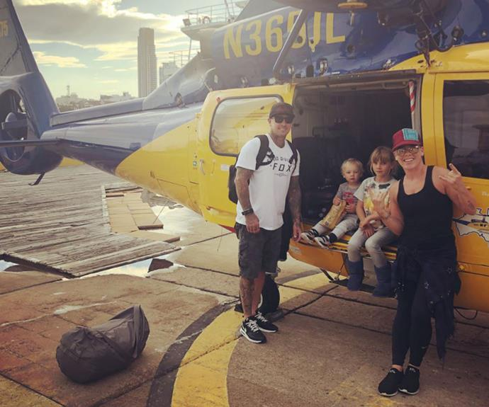 Get to the chopper! The family of four had a blast while visiting the Gold COast. *(Image: Instagram @pink)*