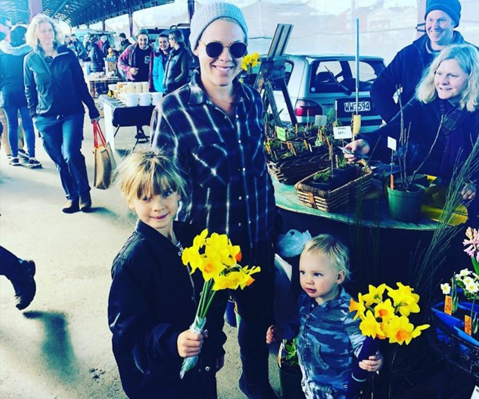 Well this is bloomin' cute! While on tour in New Zealand, Pink and her two little ones picked up some flowers at the farmer's market. *(Image: Instagram @pink)*