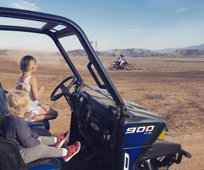 "Watching dad ""spin some laps"" from the sidelines *(Image: Instagram @pink)*"