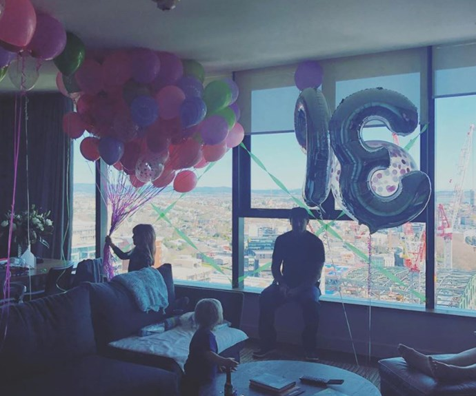 """I have the balloons to prove it dick!!!!!! Although that says I'm 93 I think. Thanks for all the birthday love everyone (except @hartluck)"" Pink poked fun at her husband on Instagram who threw her a private party just with the family. *(Image: Instagram @pink)*"