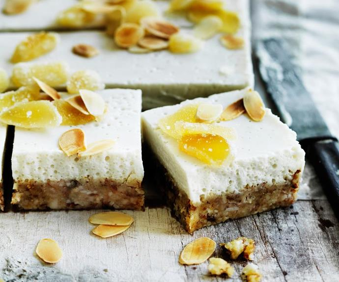 """Ginger, coconut and almond slice, recipe at our sister site [Women's Weekly Food](https://www.womensweeklyfood.com.au/recipes/ginger-coconut-and-almond-slice-29454