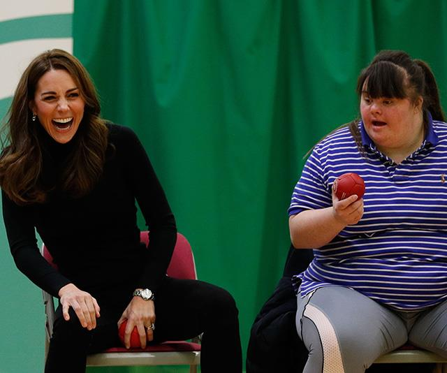 The Duchess roared with laughter during the royal visit to Basildon Sporting Village. *(Image: Getty Images)*