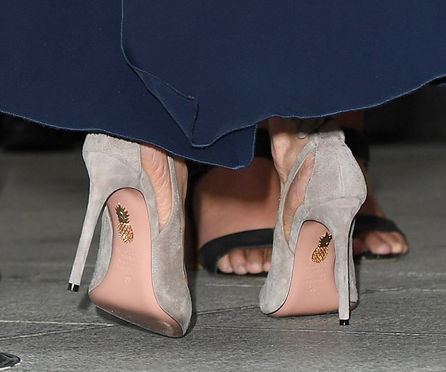 It's all in the details! Fans got a peek of pineapples on her Aquazzura heels - a quriky addition! *(Image: Getty Images)*