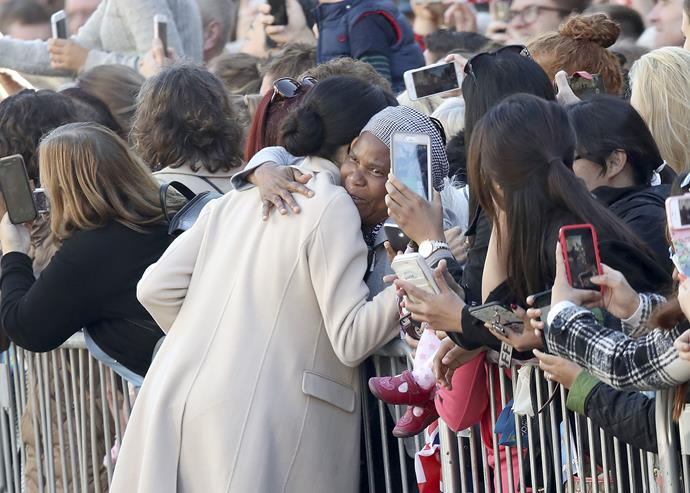Duchess Meghan showed off her soft side with this touching hug for a local Chichester resident when she and the Prince made their first visit to Sussex in early October as Duke and Duchess of the county. *(Image: Getty Images)*
