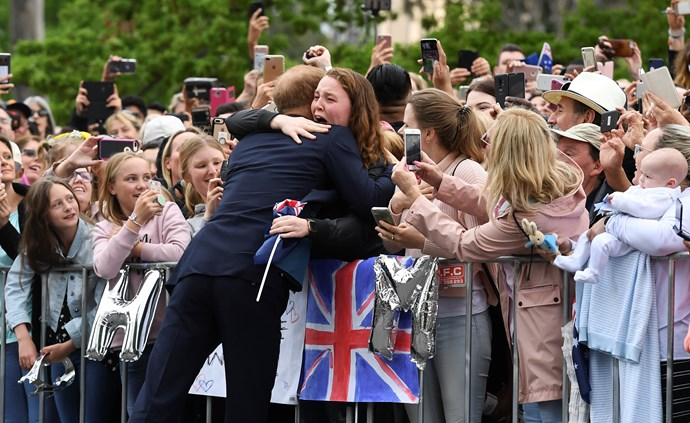 Just look at that face! India Brown was overwhelmed by the warmth of Prince Harry's greeting in Melbourne. *(Image: Getty Images)*