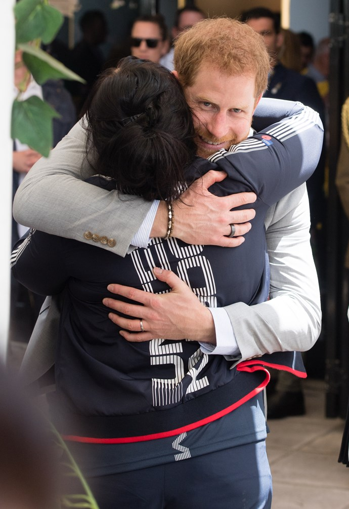 This UK competitor for the Invictus Games got a special dash of royal charm from Prince Harry himself in Sydney. The prince has made a point of talking about the need for openness when it comes to mental health issues throughout the couple's Royal Tour. *(Image: Getty Images)*