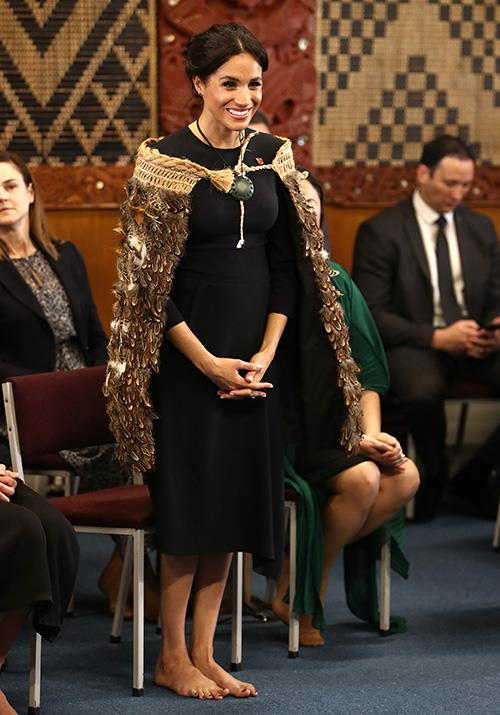 Maori custom was front-and-centre, with Meghan wearing a korowai and going barefoot during the formal engagement. *(Image: Getty Images)*