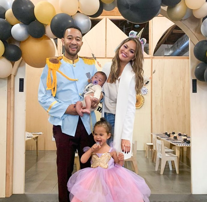 "Chrissy Teigen joined John and Luna as a unicorn! We can't see what Miles is - but ""cutest baby"" comes to mind!"