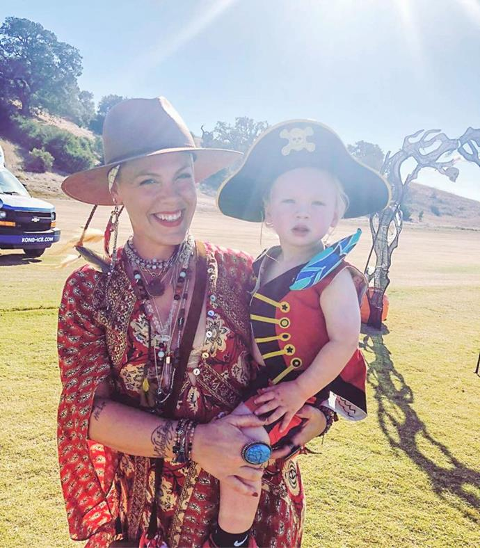"[Pink and son](https://www.nowtolove.com.au/parenting/celebrity-families/pink-husband-carey-hart-children-51051|target=""_blank""), Jameson were the cutest pirates during the week."