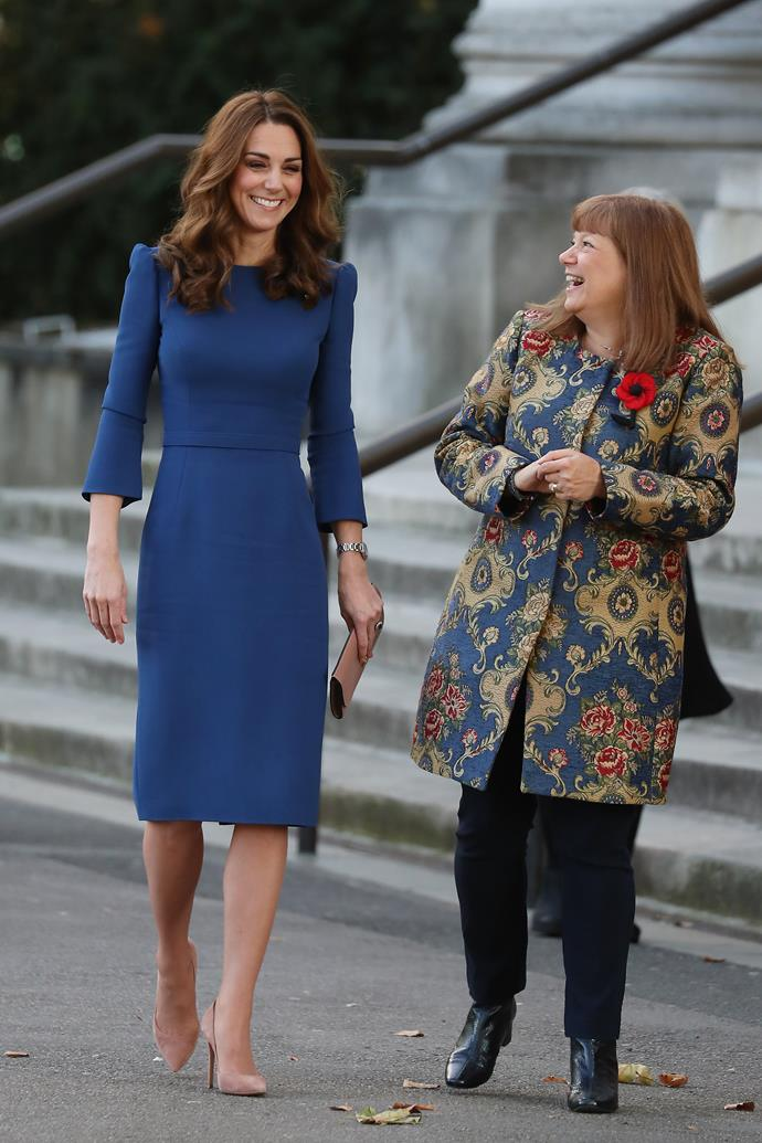 The Duchess met a descendant of a war veteran during the engagement. *(Image: Getty)*
