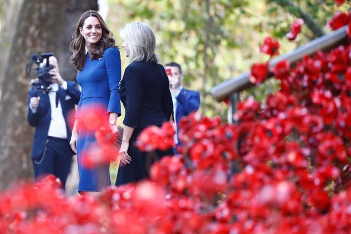 A beautiful display of Poppies had Kate enamoured. *(Image: Getty)*