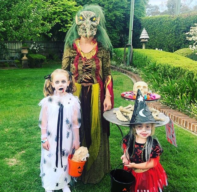 "While Grant Denyer was at a work event, Chezzi Denyer and their daughter's Sailor and Scout went as ghoulish witches! ""The real horror story here was getting ready to go Trick Or Treating tonight.... Happy Halloween,"" she captioned her Instagram post."