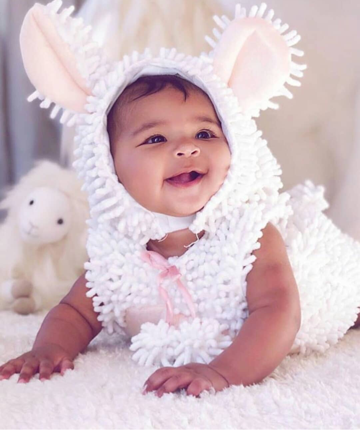 Khloe Kardashian's daughter True had the cutest first Halloween. There were a few costume changes including this ADORABLE lamb outfit.