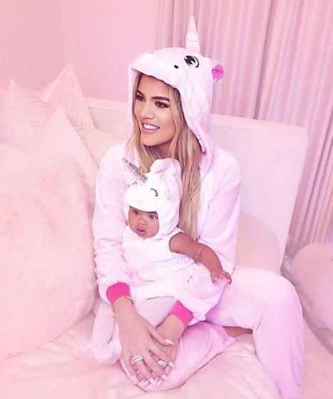 Khloe also dressed true in Mamma and baby Unicorn costumes. Divine.