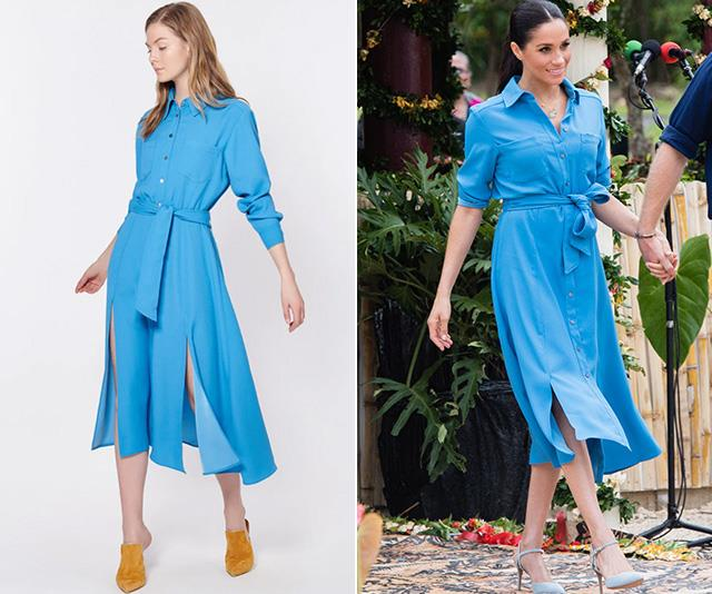 Meghan opted for a slightly more conservative version of the blue Veronica Beard shirt-dress. *(Images: L-R Veronica Beard, Getty)*