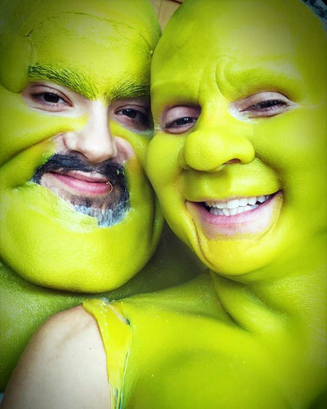 You wouldn't know it, but that's Heidi Klum underneath all that green! The supermodel shared progress updates as she transformed herself into Princess Fiona from *Shrek*. *(Image: Instagram /@heidiklum)*
