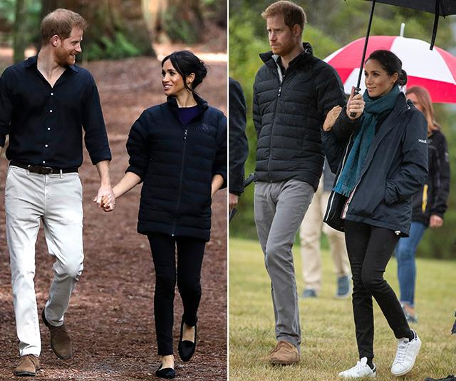 Harry gave Meghan his puffer jacket s the pair walked through a New Zealand forest in Rotorua. The Prince was snapped wearing the style earlier in the week. *(Images: Getty)*
