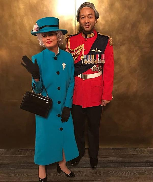 Chrissy Teigen and John Legend and already celebrity royalty, so why not go the whole hog and dress like British royals too! *(Image: Instagram: @johnlegend)*