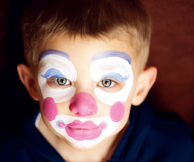 Clown style face paint is thicker and gives great coverage. *(Image: Getty Images)*