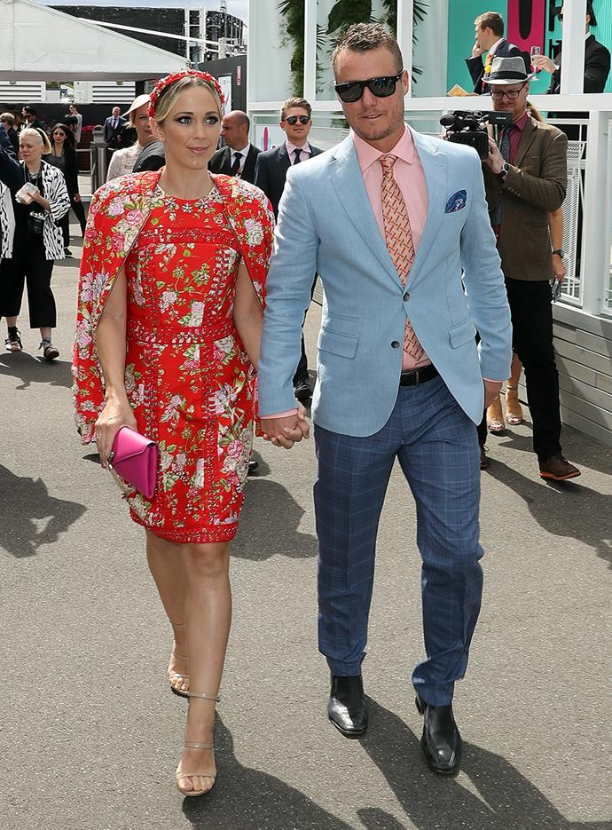 Bec and Lleyton Hewitt at Melbourne Cup in 2016.