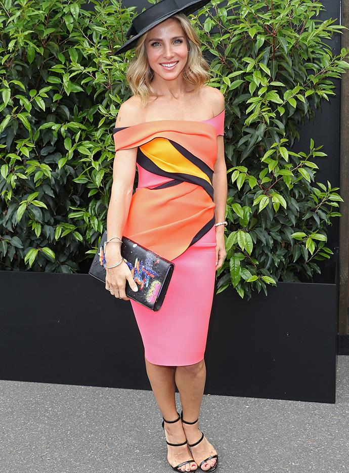 Elsa Pataky poses at Melbourne Cup in 2016.