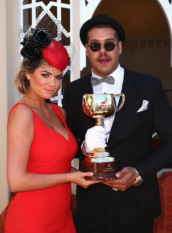 "Kate Upton and Lance ""Buddy"" Franklin at Melbourne Cup in 2013."