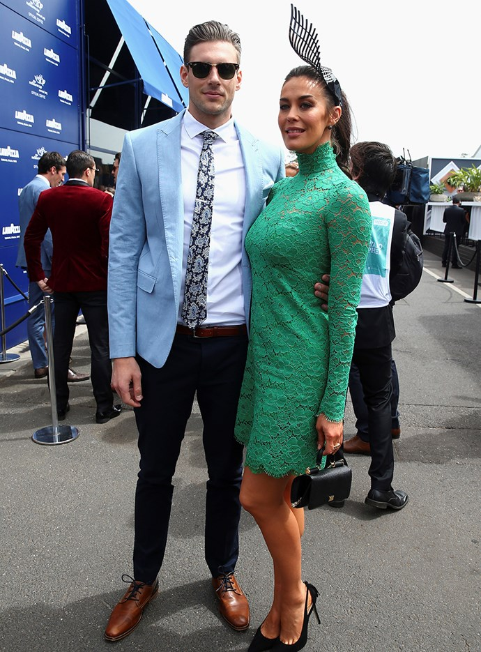 Shaun Hampson and Megan Gale at Melbourne Cup in 2015.