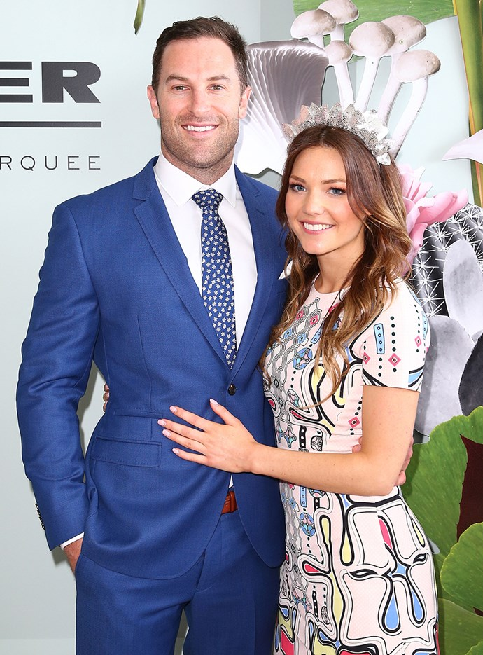 Sasha Mielczarek and Sam Frost at Melbourne Cup in 2015.
