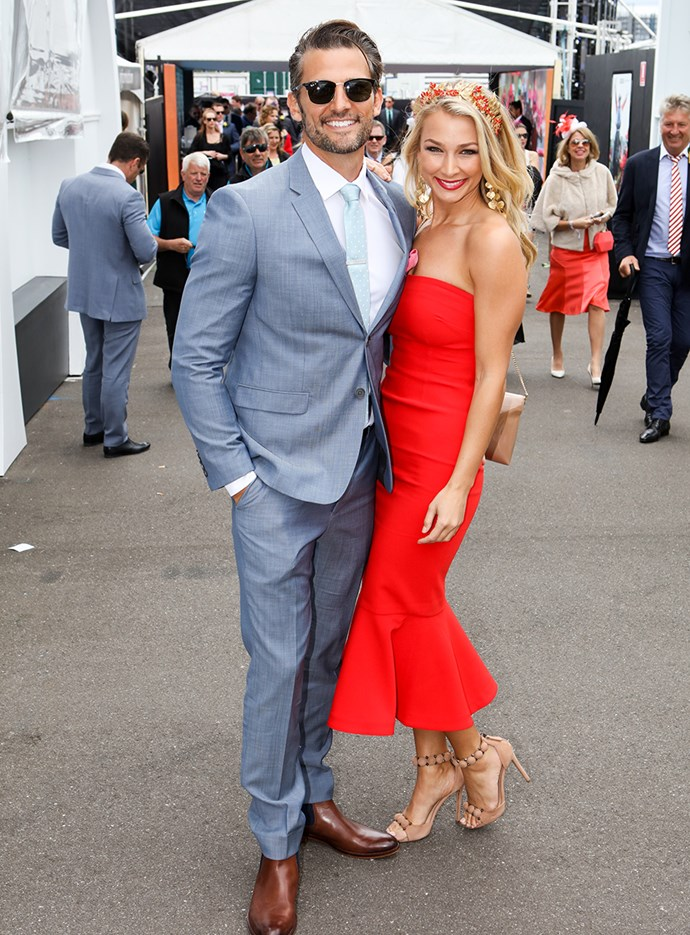 Tim Robards and Anna Heinrich at Melbourne Cup in 2016.