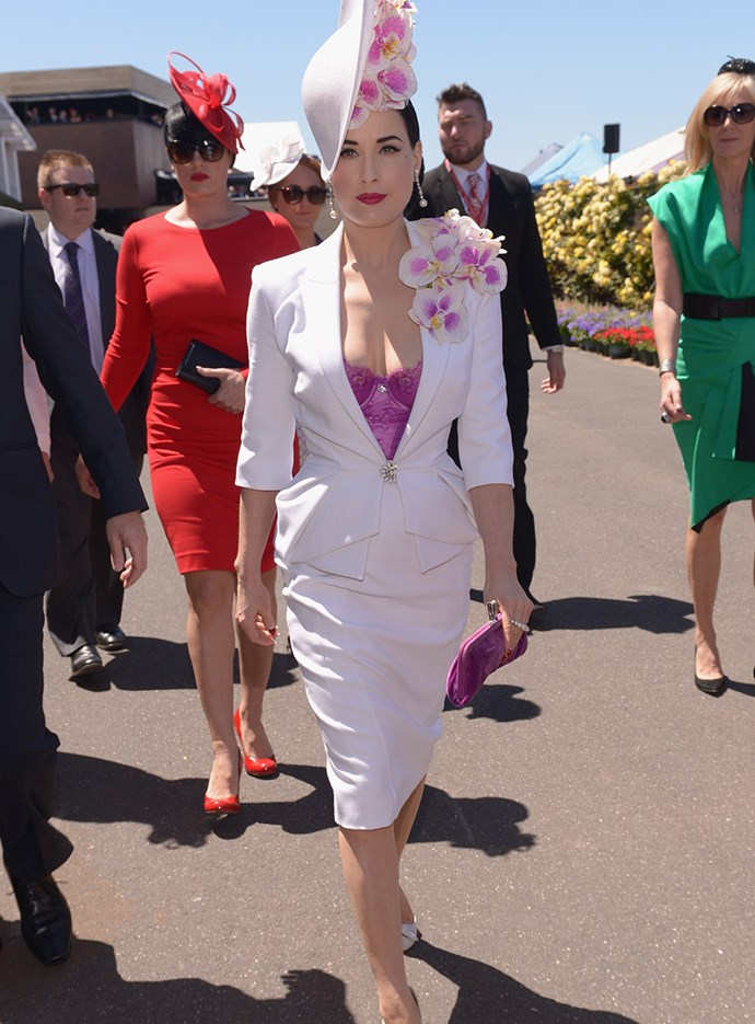 Dita Von Teese at Melbourne Cup in 2013.