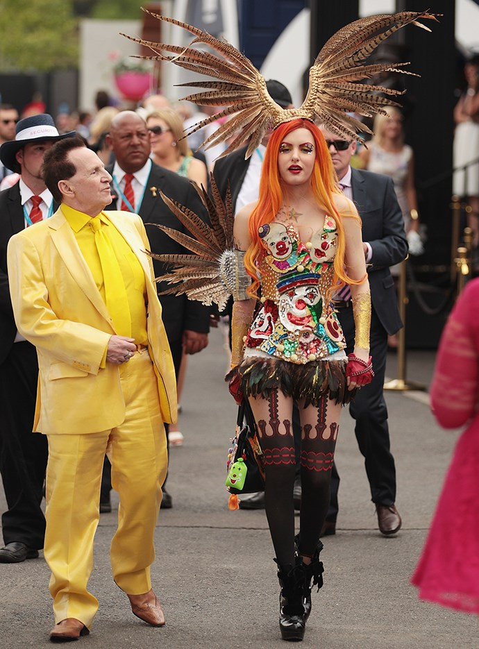 Geoffrey Edelsten and Gabi Grecko at Melbourne Cup in 2004.