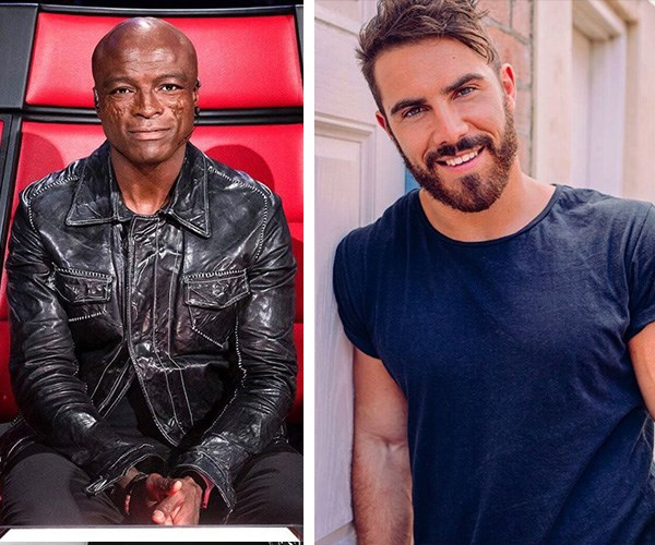 Delta's red chair romances: Fellow *Voice* coach Seal and contestant Tim Conlon who during his audition gave her a rose and serenaded her. *(Images: Instagram @thevoiceau/@timconlon)*