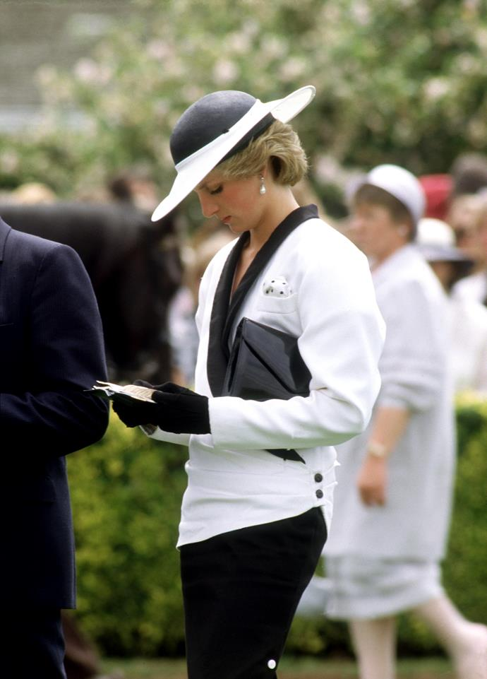Princess Diana at Melbourne Cup in 1985.