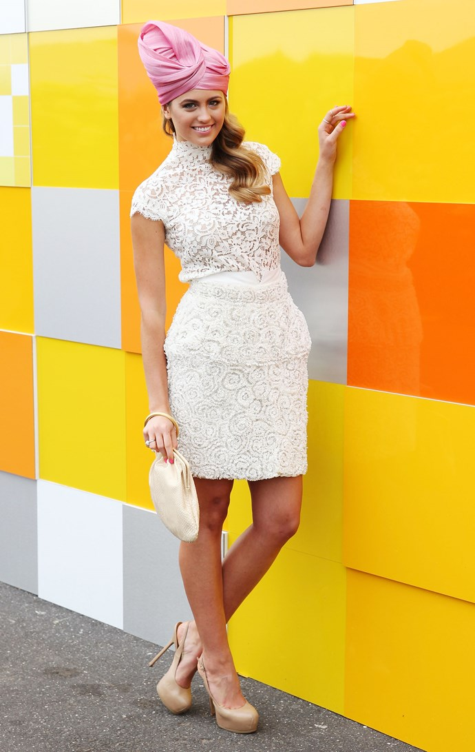Jesinta Franklin (née Campbell) at Melbourne Cup in 2012.