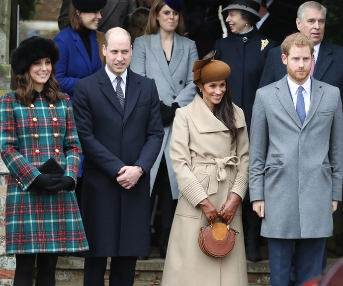 Duchess Catherine, Prince William, Duchess Meghan and Prince Harry attended the Christmas service in 2017. *(Source: Getty Images)*