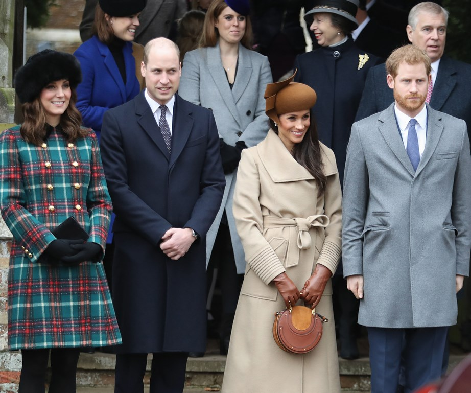Duchess Kate, Prince William, Duchess Meghan and Prince Harry attended the Christmas service, 2017.
