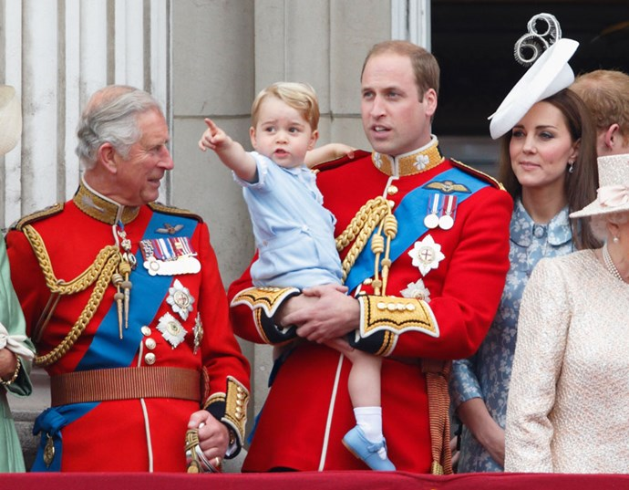 Prince Charles with his grandson, Prince George and his son, Duke of Cambridge - Prince William. *(Source: Getty Images)*