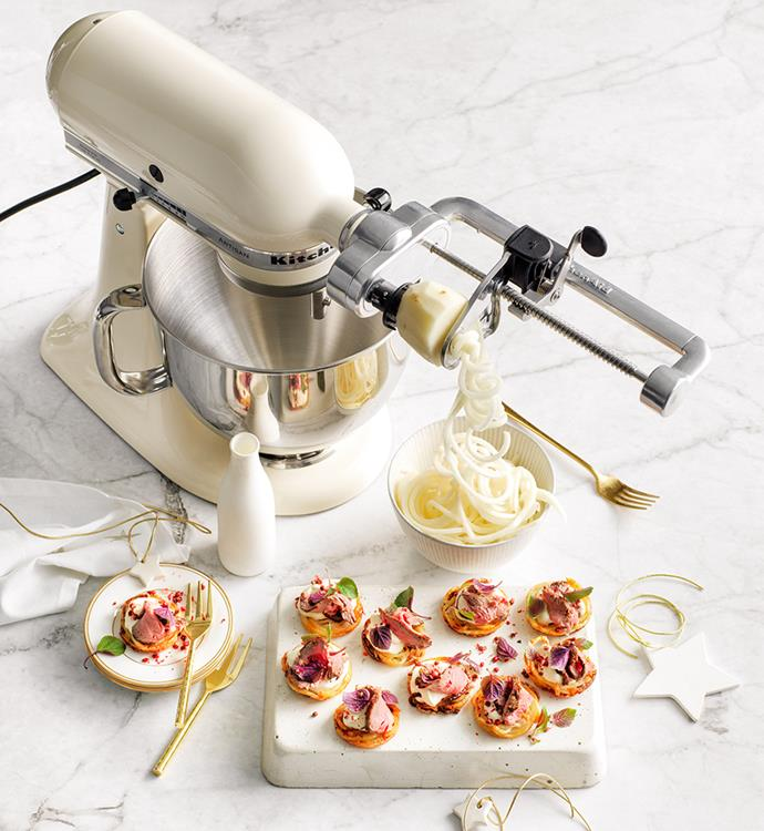 "[KitchenAid Stand Mixer In Cream](https://www.harveynorman.com.au/kitchenaid-ksm160-artisan-stand-mixer-almond-cream.html|target=""_blank""|rel=""nofollow""), $699 with [KitchenAid Stand Mixer Spiralizer Attachment](https://www.harveynorman.com.au/kitchenaid-stand-mixer-spiraliser-attachment.html|target=""_blank""|rel=""nofollow""), $169 at Harvey Norman"