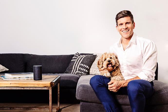 Osher with his cavoodle pup Frankie.