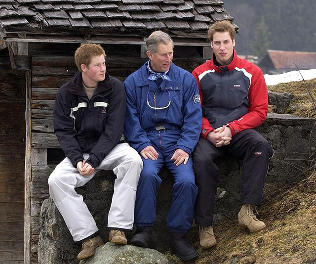 Prince Charles with his sons at Klosters ski resort in 2005 *(Image: Getty Images)*