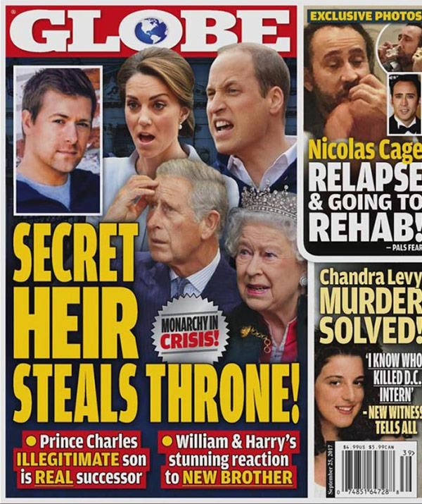 US tabloid *The Globe* published rogue claims that Charles had fathered a secret love child.