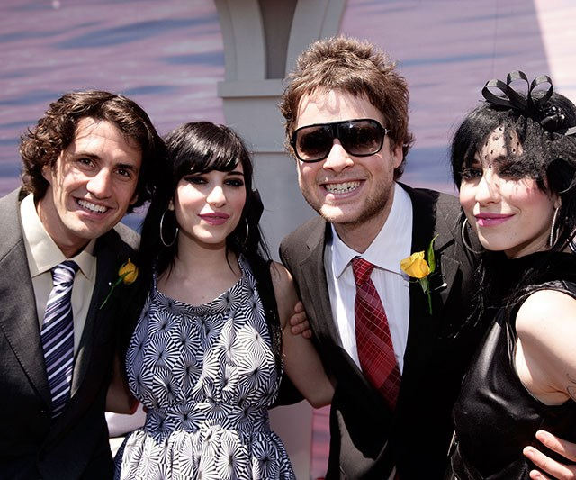 Hamish Blake and Andy Lee with Lisa and Jess Origliasso of the Veronicas at Melbourne Cup in 2007.