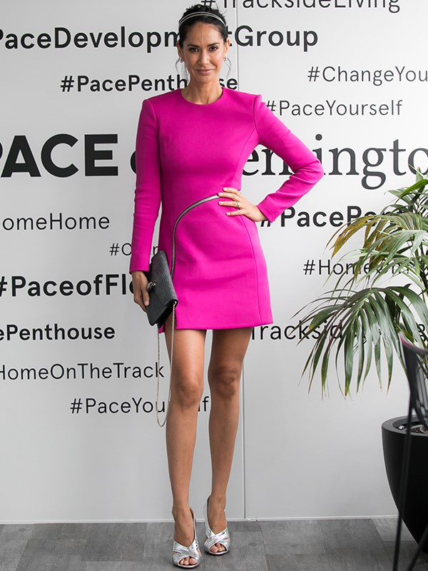 She's got that newlywed glow! Fresh from her recent nuptials with Adam Ellis, Lindy Rama-Ellis makes a statement in this structured fuchsia shift dress. *(Image: Media Mode)*