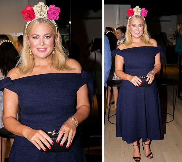 """As pretty as a Sunrise! Seven network breakfast host [Samantha Armytage](https://www.nowtolove.com.au/tags/samantha-armytage target=""""_blank"""") oozes elegance in this off-the-shoulder navy dress by Camilla and Marc. But it's her floral handmade headpiece by Polka Co that really packs a vibrant punch.*(Image: Media Mode)*"""
