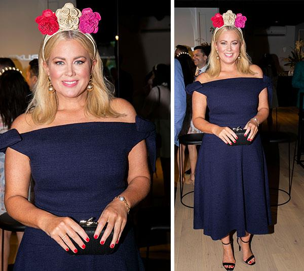 "As pretty as a Sunrise! Seven network breakfast host [Samantha Armytage](https://www.nowtolove.com.au/tags/samantha-armytage|target=""_blank"") oozes elegance in this off-the-shoulder navy dress by Camilla and Marc. But it's her floral handmade headpiece by Polka Co that really packs a vibrant punch.*(Image: Media Mode)*"
